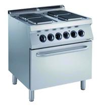CombiSteel Pro 700 elektrisch fornuis met 4 platen en elektrische oven | 16,4 kW/h | 800x700x850(h)mm