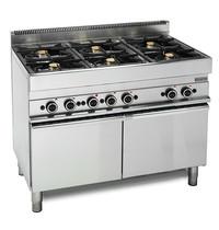 Mastro Gasfornuis 6 branders 3x3,6 + 3x 5kW/h | Met maxi gas oven 7,5 kW/h | 1100x650x850(h)mm