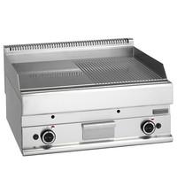 Mastro Bakplaat/Grillplaat glad/gegroefd chroom | 11,4kW/h | Bakplaat 695x520mm | 700x650x280(h)mm