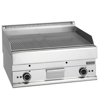 Mastro Bakplaat/Grillplaat gegroefd staal | 9 kW/h | Bakplaat 695x520mm | 700x650x280(h)mm