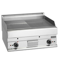 Mastro Bakplaat/Grillplaat glad/gegroefd chroom | 9 kW/h | Bakplaat 695x520mm | 700x650x280(h)mm