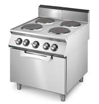 Mastro Fornuis elektrisch met 4 vierkante platen elk 2,6 kW/h | Met elektrische statische oven 6 kW/h - 2/1 GN | 800x730x870(h)mm