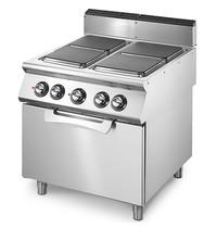 Mastro Fornuis elektrisch met 4 kookplaten elk 2,6 kW/h   Met elektrische statische oven 6 kW/h - 2/1 GN   800x730x870(h)mm