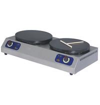 Mastro Crepes apparaat elektrisch | 3 + 3 kW/h | 2x Ø 350mm | 780x420x190(h)mm