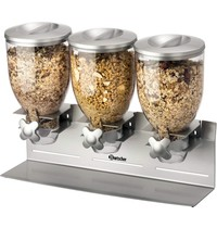 Bartscher Ontbijtgranendispenser 3-voudig 3x 3,5L | Geschikt voor wandmontage | 540x170x395(h)mm