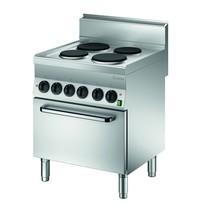 Bartscher Fornuis elektrisch 4 kookplaten   2x 2,6 - 2x 1,5 kW/h   Elektrische oven 4,3 kW/h   700x650x870(h)mm