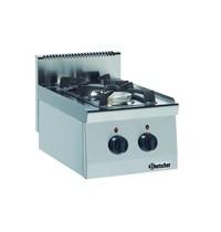 Bartscher Gasfornuis 600 2 kookpitten | 1x 3,5 kW voor 1x 6 kW achter | 400x600x290(h)mm