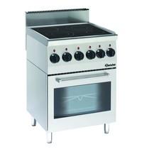 Bartscher Fornuis keramisch elektrisch EO 4 kookplaten   2x 2,5 -1x 1,8 - 1x 1,2 kW/h   Elektrische oven 2,2 kW/h   600x600x900(h)mm