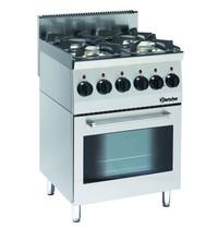Bartscher Gasfornuis EO 4 kookpitten | 2x 3,5 kW/h  voor 2x 6 kW/h achter  | Elektrische oven 2,2 kW/h | 600x600x900(h)mm