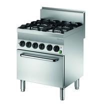Bartscher Gasfornuis EBO 4 kookpitten | 2x 3,5 - 2x 5,5 kW/h | Elektrische oven 1/1 GN 4,2 kW/h | 700x650x870(h)mm