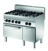Bartscher Gasfornuis GBO 6 kookpitten | 3x 3,5 - 3x 5,5 kW/h | Gasoven 5 kW/h | 1100x650x870(h)mm