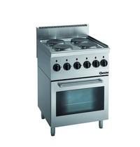 Bartscher Fornuis elektrisch  EO 4 kookplaten   4x 2 kW/h   Elektrische oven 58L 2,2 kW/h   600x600x900(h)mm