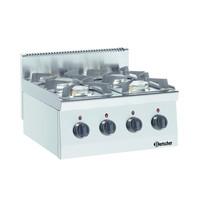 Bartscher Gasfornuis TA 4 kookpitten | 2x 3,5 kW/h voor 2x 6 kW/h achter | 600x600x290(h)mm
