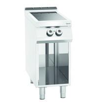 Bartscher Fornuis elektrisch keramisch 00 2 kookplaten   2x 4 kW/h   Open onderstel   400x900x900(h)mm
