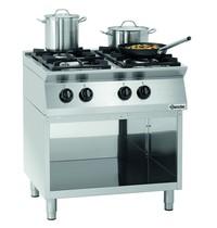 Bartscher Gasfornuis MFGO 7040 4 kookpitten | 2x 3,5 - 2x 6 kW/h | Open onderstel | 800x700x910(h)mm