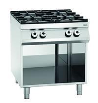 Bartscher Gasfornuis 00 4 kookpitten | 1x 3,5 - 1x 5 - 2x 8 kW/h | Open onderstel | 800x900x900(h)mm