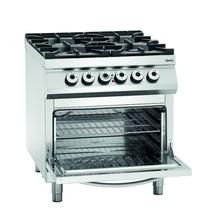 Bartscher Gasfornuis EO 4 kookpitten   1x 3,5 - 1x 5 - 2x 8 kW/h   Elektrische oven 2/1 GN 5,6 kW/h   800x900x900(h)mm