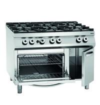 Bartscher Gasfornuis EO NS 6 kookpitten   1x 3,5 - 2x 5 - 3x 8 kW/h   Elektrische oven 2/1 GN 5,6 kW/h   1200x900x900(h)mm