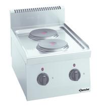 Bartscher Fornuis elektrisch  2 PLTG 2 kookplaten   2x 2kW/h   400x600x290(h)mm