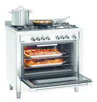 Bartscher Gasfornuis BHG 5 kookpitten | 1x 1 -1x 3 - 2x 1,75 - 1x 3,8 kW/h | Elektrische oven 104L 2,5 kW/h | 900x600x900(h)mm