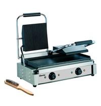 Bartscher Contactgrill 3600 2GR geribbeld/glad | 3,6 kW/h | Grillplaten gietijzer/geëmailleerd | 570x395x210(h)mm