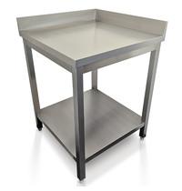 Diamond Werktafel 90° met 2 opstaande randen  | 600x600x880/900(h)mm