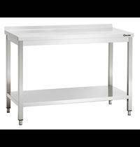Bartscher Werktafel RVS met achteropstand + bodemschap   700mm diep   850 mm hoog