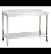 Bartscher Werktafel RVS met achteropstand + bodemschap   600mm diep   850 mm hoog