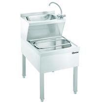 Bartscher RVS handwasbak met uitstortbak en mengkraan | 510x700x850(h)mm