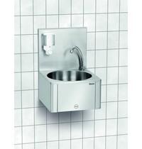 Bartscher Wasbak wandmontage RVS | Knie bediening en geïntegreerde zeepdispenser | 400x404x577(h)mm