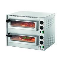 Bartscher Pizzaoven elektrisch Mini Plus 2 RVS | 2x1 35Ø cm | 2 kamers | 3,4 kW/h | Bodem van hittebestendige steen | 570x550x475(h)mm