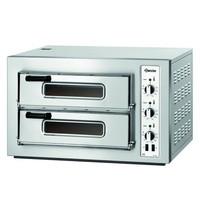 Bartscher Pizzaoven elektrisch RVS | 4+4 Ø 25cm | 2 kamers | Boden van vuurvaste klei | 800x750x510(h)mm