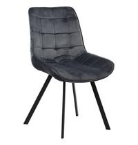 Luxus Eetkamerstoel velvet grijs   Zithoogte 44cm
