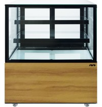 Saro Gebaksvitrine | 300L | Zwart/Houtprint | +2°C/+10°C | 3 Schappen | 915x675x1210(h)mm