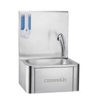Casselin Handwasbak RVS met kniebediening | Geïntegreerde zeepdispenser 360ml | 400x330x570(h)mm