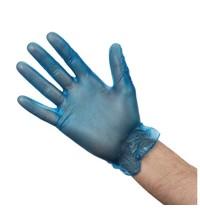 Vogue Handschoenen vinyl blauw gepoederd | 100 stuks