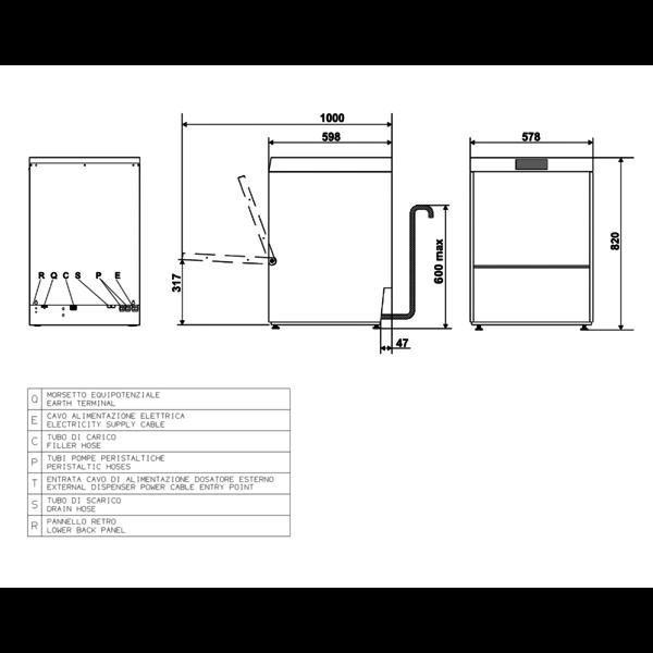 Horeca Vaatwasser | ECOLINE | Mand 500x500mm | 230V | Afvoerpomp | Zeeppomp | Naglanspomp | Breaktank | 580x600x820(h)mm