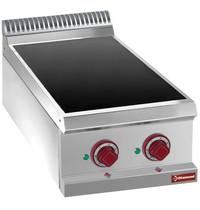 Diamond Elektrische vitrokeramische plaat met 2 warmte zones Top | 1x 1,8 kW/h & 2,4 kW/h | 400x700x250/320(h)mm