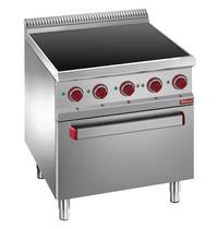 Diamond Fornuis vitrokeramisch met 4 zones 2x 1,8 kW/h & 2x 2,4 kW/h | Met elektrische oven met grill 5,3 kW/h - GN 2/1 | 700x700x850/920(h)mm