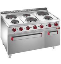 Diamond Fornuis elektrisch  met 6 ronde platen 3x 1,5 kW/h   Met elektrische oven GN 2/1 en grill 5,3 kW/h   1100x700x850/920(h)mm