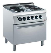 Diamond Fornuis elektrisch met 4 platen 4x 2,6 kW/h | Met elektrische oven GN 2/1 - 6kW/h | 800x700x850/920(h)mm