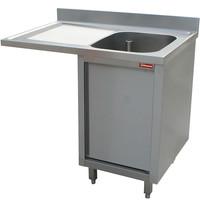 Diamond Spoeltafel met 1 kuip 600x500x325(h)mm en 1 druipvlak | Op kast met 1 draaideur en ruimte voor vaatwasser | 1400x700x880/900(h)mm