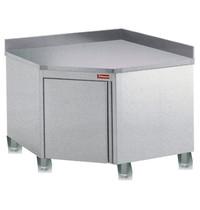Diamond Hoekwerktafelkast  met achteropstand 90° met draaideur en geïntegreerde handgreep    1000x1000x880/900(h)mm