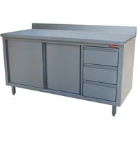 Diamond Werktafelkast met achteropstand | 2 schuifdeuren en 3 laden rechts | 2000x700x880/900(h)mm