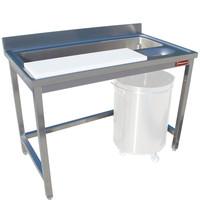 Diamond Wand voorbereidingstafel met achteropstand en wassen van groenten | Snijblad 1330x23020(h)mm | 1800x700x880/900(h)mm