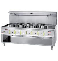 Diamond - Bertrand  Wok-fornuis 7 branders met watergordijn | 23,8 & 11,25 kW/h | 2100x900x760/1300(h)mm