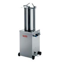 Diamond Hydraulische verticale worstenvuller in RVS 15 liter op wielen | Cilinder Ø 200x495mm | 490x370x1200(h)mm