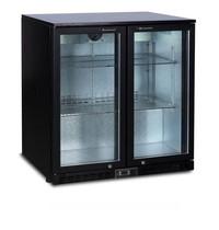 Luxus Barkoelkast zwart | 200 liter | Statisch met ventilator | 2 klapdeuren | 900x520x865(h)mm