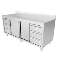 UNNINOX RVS werkbank met opstaande rand 2 schuifdeuren & 3+3 lades 1/1 GN | 2000x700x850(h)mm