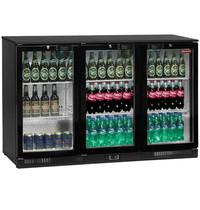 Diamond Flessenkoeler 3 glazen deuren Back Bar | 380 blikjes of 218 flessen | Geventileerd | 1355x520x870(h)mm